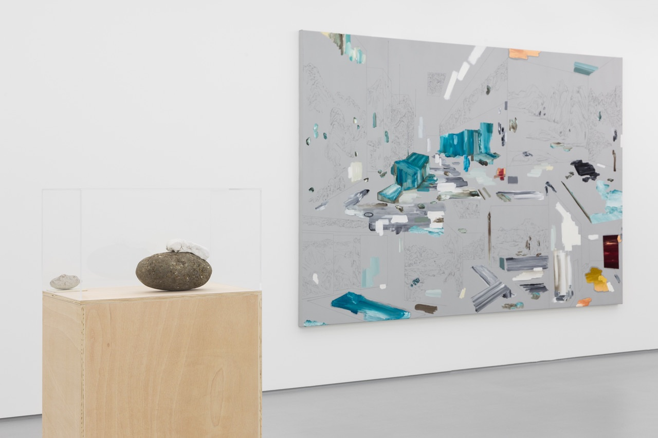 Partial exhibition view 'Three lines, a corner times four. And a landscape.', Vera Cortês Gallery, 2018